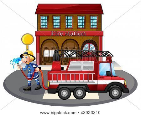 Illustration Of A Fireman Holding A Water Hose Beside A Fire Truck On A White Background Poster Id 43923310 Fire Trucks Fireman Water Hose