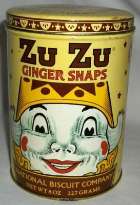 Zu Zu Ginger Snaps tin. Inspired, I imagine by It's a Wonderful Life. I LOVE IT! I WANT ONE!