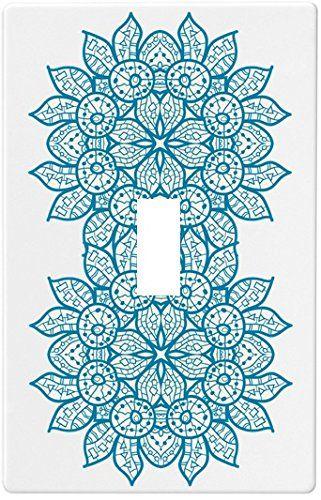 Oriental Blue Mandala Wallplate Decorative Switch Plate Cover 1 Gang Singl