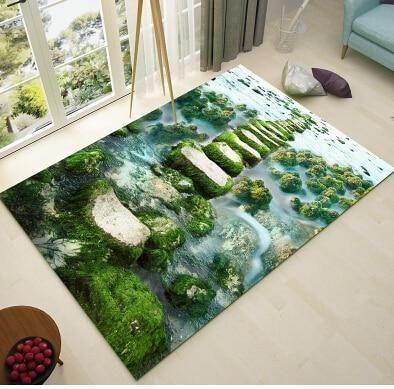 Nordic Green Pastoral Style 3d Teppich Wohnzimmer Blumenmatten Sofa Couchtisch 3d Blumenmatten Couchtisch Green Teppich Wohnzimmer Teppich Couchtisch