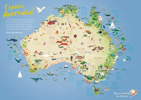 Australia travel map - showing key features/attractions. On the website it is possible to zoom right into areas on the map.