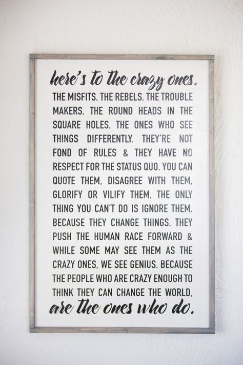 Steve Jobs Here's to the Crazy Ones Home Decor by Sophistiqa