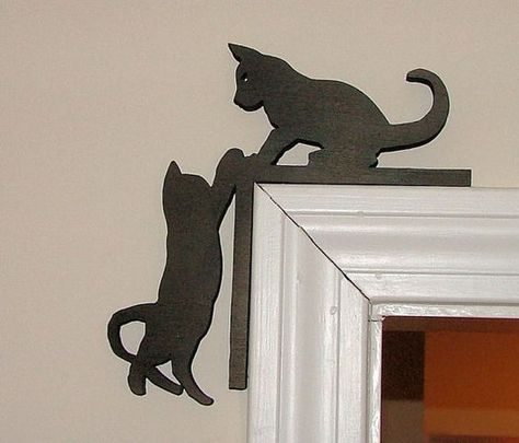 Cute Kitten Silhouette Door Topper Free Vector