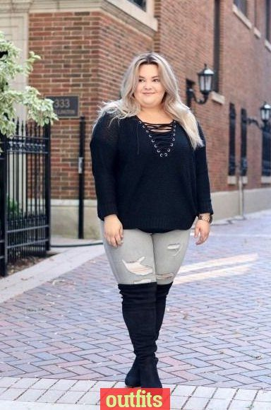 outfits plus size overknee stiefel