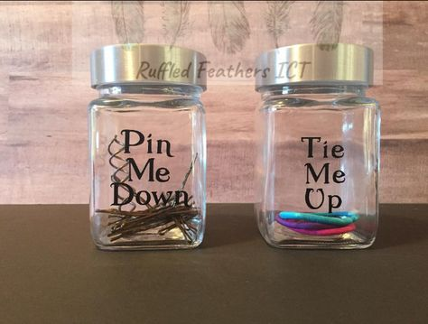 Pin Me Down and Tie Me Up Funny Bathroom Decor Set You need these in your life! Suprise your guests with these fun vanity organizers for your hair ties and pins! The jars measure inches tall. Bathroom Jars, Funny Bathroom Decor, Bathroom Decor Sets, Bathroom Humor, Bathroom Organization, Modern Bathroom, Gold Bathroom, College Bathroom Decor, Decorating A Bathroom