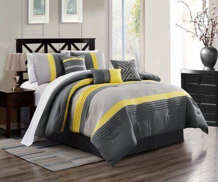 7 Piece Chai Yellow Gray Comforter Set Comforter Sets Bed Linens Luxury Yellow Bedding