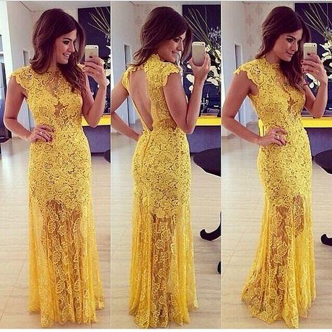 64973eee7 Elegant yellow lace Prom dress Mulheres moda vestido de baile renda amarela  elegante vestidos de festa Vestido Longo LQ4862