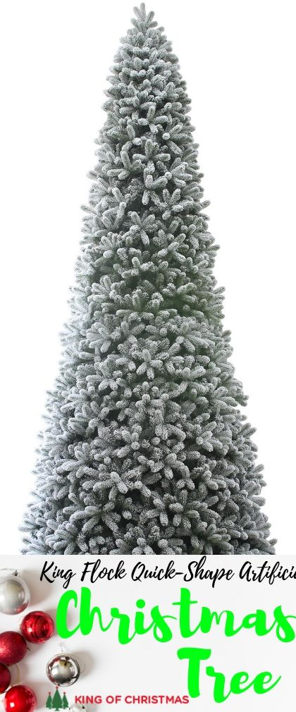 15 Foot King Flock Quick Shape Artificial Christmas Tree With 2000