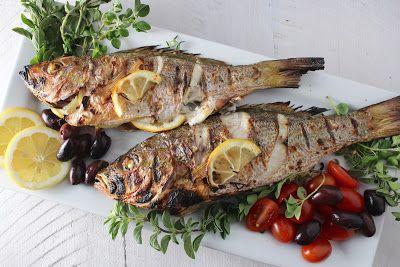 وصفات سمك مشوي بالليمون Roast Fish Grilled Fish Recipes Greek Recipes