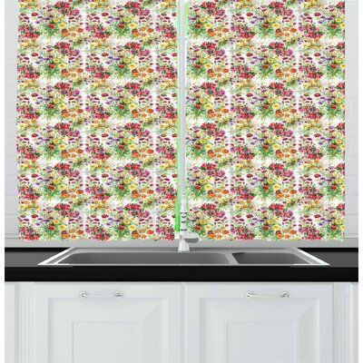 East Urban Home Ambesonne Garden Art Kitchen Curtains Watercolor