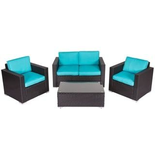 Kinbor 4 Piece Outdoor Patio Furniture Set Wicker Chat Set