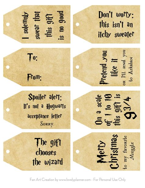 Free Printable Harry Potter Christmas Gift Tags - Lovely Planner