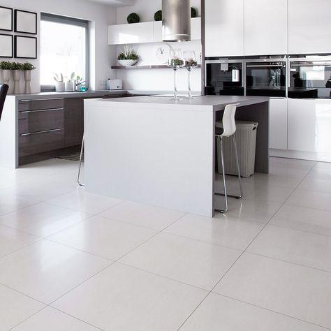 White Square Polished Porcelain Tiles Kitchen Floor Tile Kitchen Flooring White Kitchen Tiles