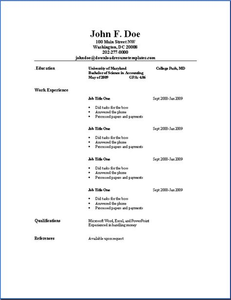 Simple Resume Examples Basic Resume Outline Templates  Httpwwwjobresumewebsite