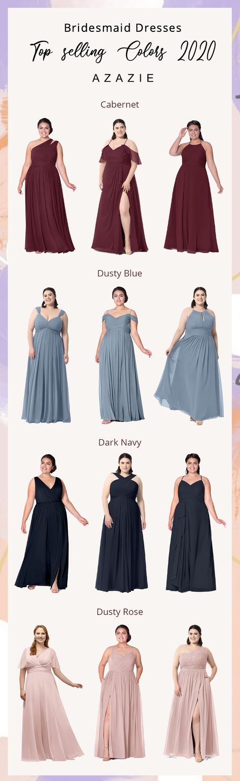 Azazie offers hundreds of bridesmaid dress styles! Here are the shopping guide for you. #azazie #bridesmaiddresses #weddingideas #fallbridesmaiddresses