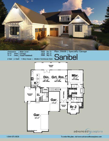 1 Story Modern Farmhouse House Plan Sanibel House Plans Farmhouse New House Plans Modern Farmhouse Plans