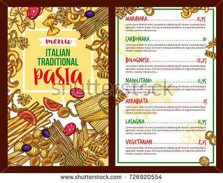 Italian Pasta Menu Sketch For Restaurant Vector Spaghetti Marinara Fettuccine Carbonara Or Bolognese F Restaurant Menu Template Menu Template Menu Restaurant