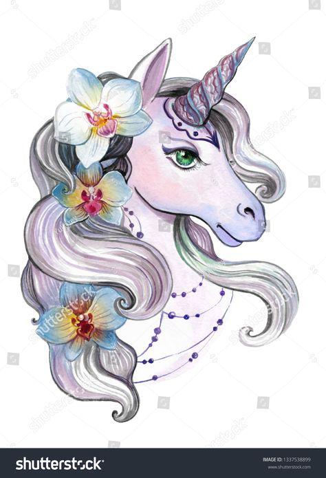 единорог, цветы, орхидеи, рисунок акварелью, принт для женской или детской одежды, милый рисунок.