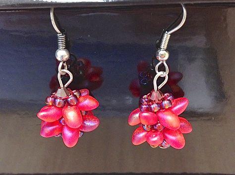 earrings with magatama beads
