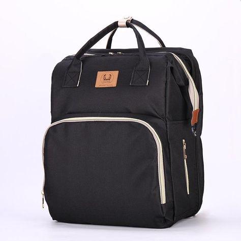 Maternity Nappy Bags- Folding Bed-Crib Mummy Backpacks With Large Capacity - Black-1