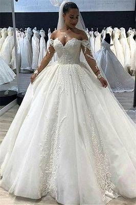 Glittery Floral Bridal Gowns See Through Neck Long Sleeves Ball