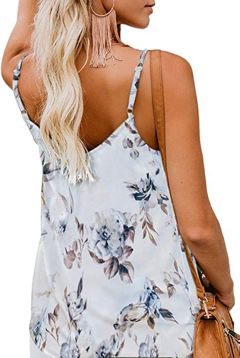 50a5ec9941aaa BLENCOT Women Cute Sleeveless Shirts Blouses Button Up V Neck Spaghetti  Strap Fashion Cami Tank Top White S at Amazon Women's Clothing store: