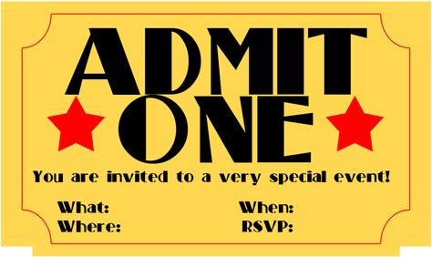 Printable Concert Ticket Invitations Party Ideas Pinterest - admit one ticket template