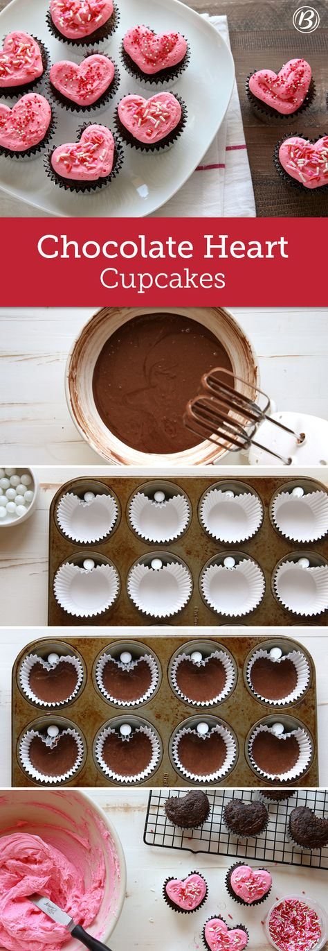 Show your loved ones how much you care by whipping up a batch of these sentimental cupcakes! All you need is a muffin tin and some marbles to nail the cute heart-shape. Una idea genial para que tus cupcakes tengan forma de corazón. Cupcake Recipes, Dessert Recipes, Frosting Recipes, Heart Cupcakes, Heart Shaped Cookies, Love Cupcakes, Heart Cookies, Valentine Desserts, Valentines