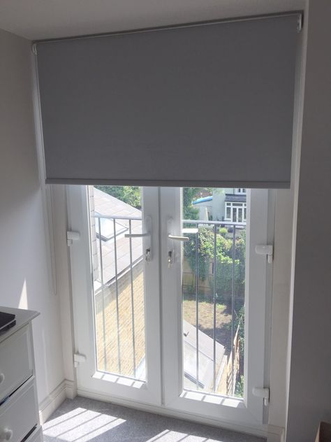 Blackout Roller Blind In Flint Colour To French Doors For A House