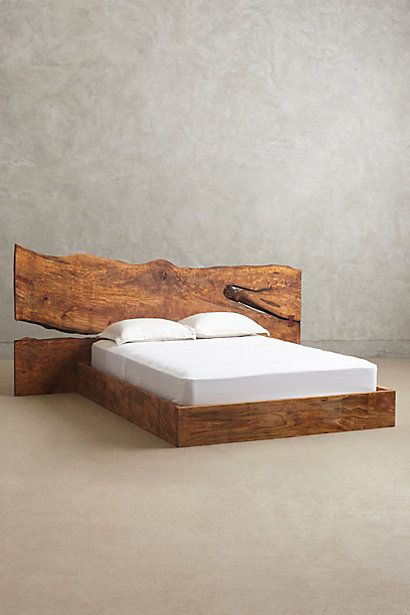 Anthropologie Live Edge Wood Queen Bed Handcrafted From