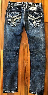 New Men/'s Rock Revival Cael Straight Stretch Denim Jeans 28 29 30 31 32 34 36 38