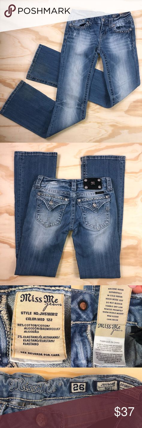 Miss Me Bootcut Womens Light Wash Jeans Picturing the women's light wash bootcut jeans from Miss Me. These jeans have 5 pockets, zip button fly and some embellishments (rhinestones) on front and back pockets.  Size 26 Used Materials 98% cotton 2% spandex   Rough measurements: inseam 31 inches, rise 7 inches, leg opening 8 inches flat  Note some discolorations and wear on ankle hems- see last photo.   See photos for more details and approximate measurements. Lighting differences may cause variati