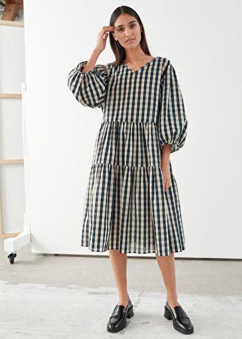 Voluminous Puff Sleeve Midi Dress In 2020 Puff Sleeve Midi Dresses Puff Sleeve Dresses Fashion