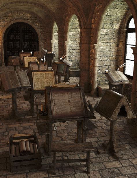 "model of a Scriptorium (lat. ""a place for writing"") Scriptorium was a room in medieval European monasteries devoted to the writing, copying and illuminating of manuscripts by monastic scribes. Medieval Life, Medieval Castle, Medieval Gothic, 3d Foto, 3d Modelle, Illuminated Manuscript, Story Inspiration, Abandoned Places, Abandoned Library"
