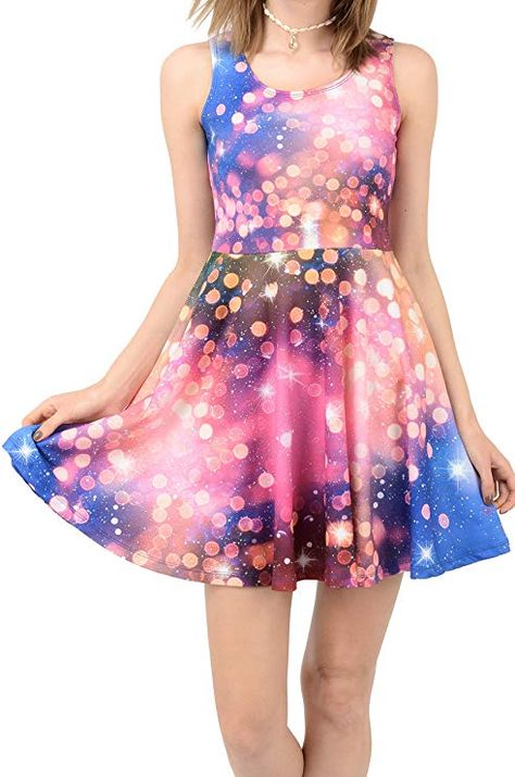 CowCow Purple Abstract Pattern Space with Stars Bodycon Skirt