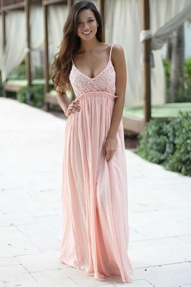 27cbe738753d1 A-Line Spaghetti Straps Floor-Length Backless Sleeveless Pink ...
