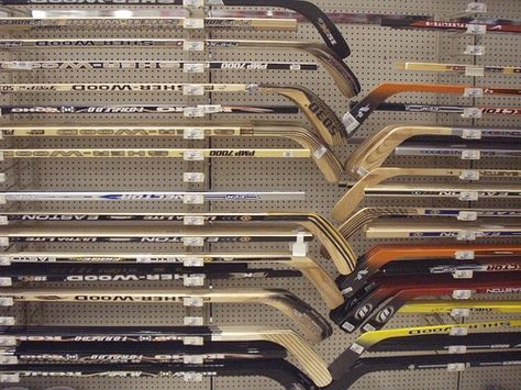 Hockey sticks make for awesome decorations.