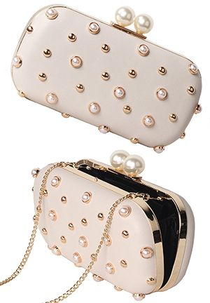 Champagne Gold and Pearl Clutch Bag | Mother of the bride clutch ...