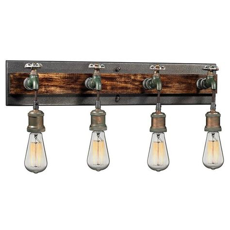 ELK Jonas 3 Light Wall Bracket In Multi-tone Weathered This series features cast metal sockets, pipes, valve wheels, and a wood accented backplate (bath only) creating a vintage industrial expression Elk Lighting, Wall Sconce Lighting, Wall Sconces, Rustic Lighting, Lighting Store, Vanity Lamp, Bathroom Vanity Lighting, Light Bathroom, Bathroom Fixtures