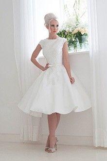 Ball Gown Bateau Knee Length Satin Wedding Dress