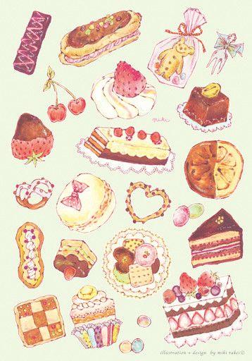 New 四季の女の子シリーズです スイーツ イラスト お菓子イラスト 水彩画 食品