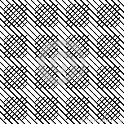 Vector Seamless Check Lines Pattern Black And White Abstract