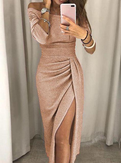 Off shoulder Slit Sequin Maxi Dress – Pamonny