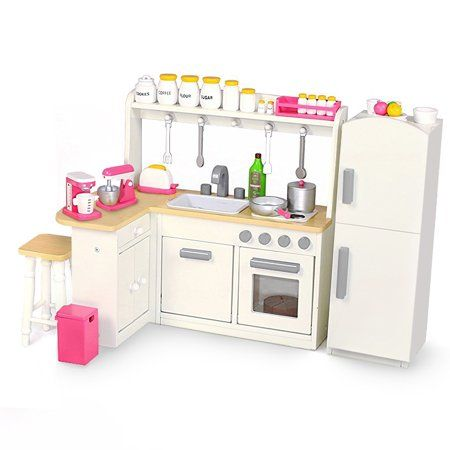 18 Inch Doll Furniture Kitchen Set W Refrigerator And Accessories Playtime By Eimmie Collection Walmart Com 18 Inch Doll Furniture Doll Furniture Kitchen Sets