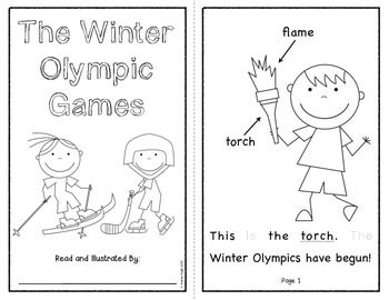 """Sample pages from """"THE WINTER OLYMPIC GAMES {A BOOK FOR EMERGENT READERS}"""" -  The pages include sight words for tracing and underlined vocabulary words.  The children are also invited to add to the illustrations.  TeachersPayTeachers.com  $"""