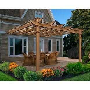 Yardistry Madison 14 Ft W X 10 Ft D Solid Wood Pergola Wayfair Outdoor Pergola Backyard Patio Designs Wood Pergola