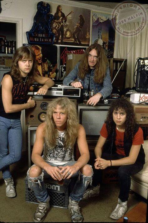 Lars Ulrich, James Hetfield, the late Cliff Burton & Kirk Hammett James Hetfield, Hard Rock, Robert Trujillo, Heavy Metal Music, Heavy Metal Bands, Heavy Metal Style, Metal Music Bands, Iron Maiden, Cliff Burton