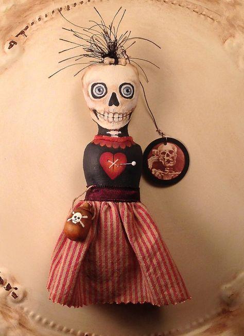 Folk Art  One of a Kind Voodoo Ornament Skeleton by FolkArtByPenny, $39.00