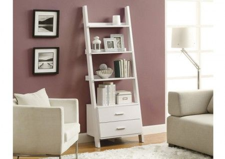 This shelving unit is so airy and light.   http://www.shoplet.com/Monarch-Furniture-WHITE-69-H-LADDER-BOOKCASE-WITH-2-STORAGE-DRAWERS/MONI2562/spdv