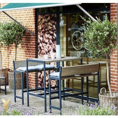 Woodinis Garten Bar Set Funkis 3tlg Holz Metall Graubraun Gartenbar Garten Kleine Terrasse Gestalten